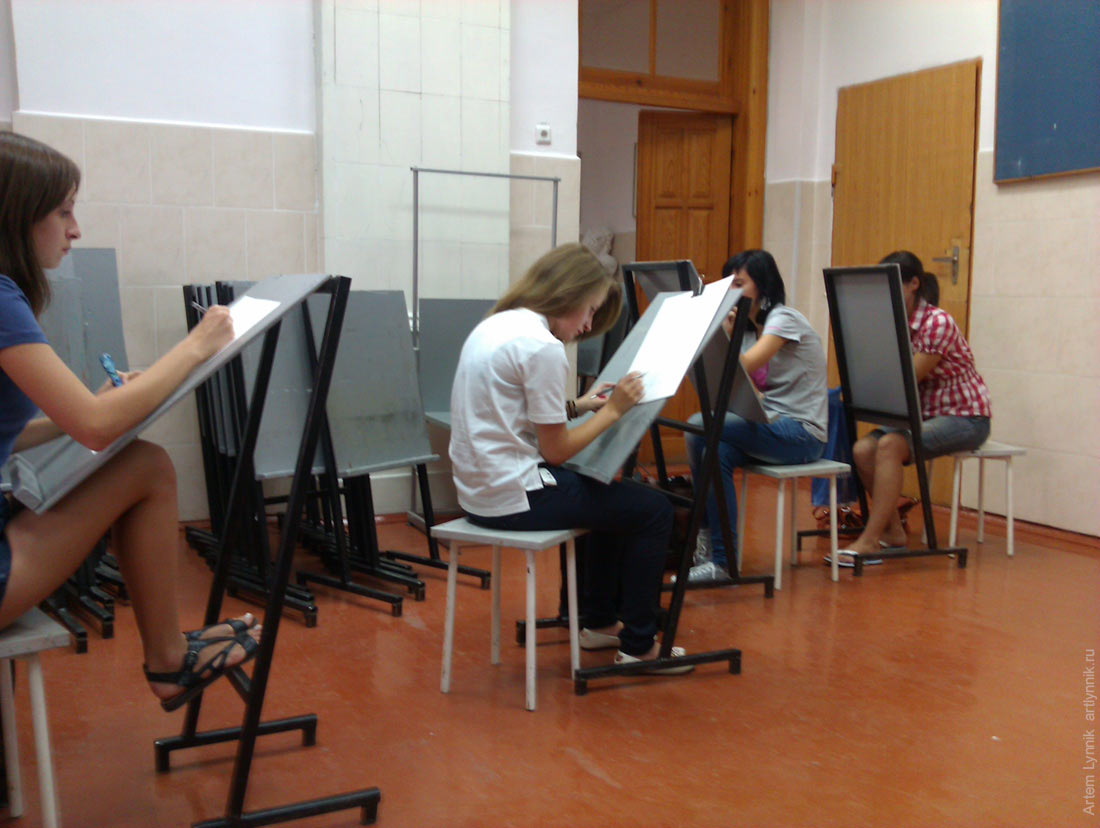 art, drawing, girl, painting, people, school, study, woman, sit