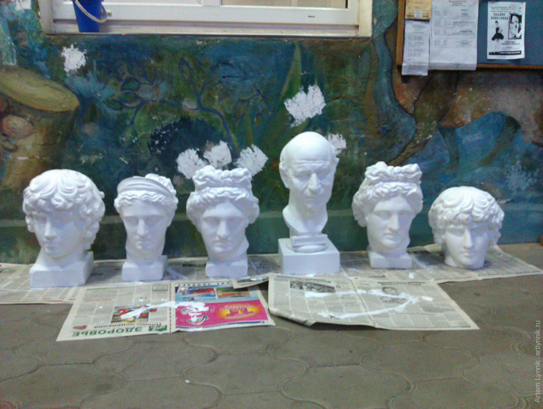 art, david, head, plaster, school, statue