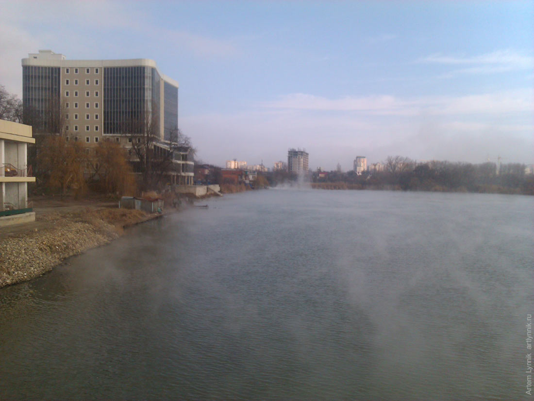 fog, river, sunny island, water, winter