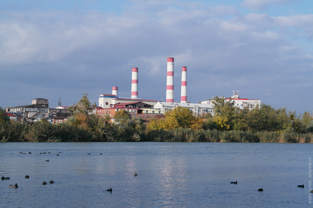 chimney, factory, river, water